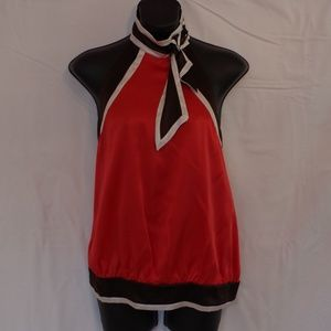 BEBE   Silk Halter with Buttoned Neck and Silk Tie